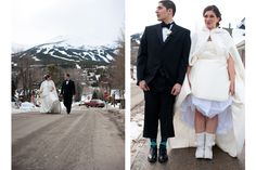 Our winter wedding done by the talented and amazing J.Nelson Photography!      Breckenridge, Colorado, snow, snowboard, wedding boots, wedding cape, snowy wedding