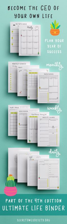 Plan your year with weekly, monthly and yearly goal setting templates.