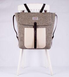 Grauer Tweedrucksack für einen lässigen Look / grey rucksack for a cool look made by Breagha via DaWanda.com