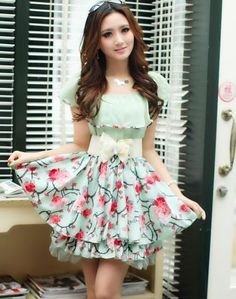 Sweet With Belt Splicing Blocking Color Floral Print Chiffon Dress For Women (GREEN,ONE SIZE) China Wholesale - Sammydress.com