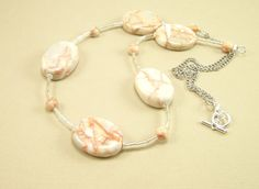 Gemstone Jewelry Necklace Redline Marble Stone by BobblesByCarol, $21.00