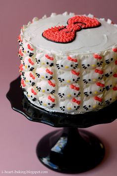 i heart baking!: hello kitty cake - pink ombre cake with whipped chocolate ganache and swiss meringue buttercream