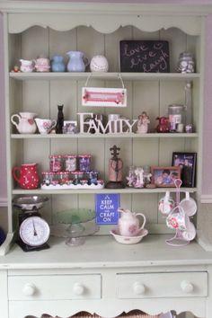 My Crazy Mad World, Dresser decor, Dresser ideas, Vintage dresser, Welsh dresser, Painted dresser