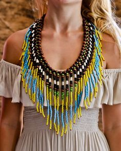 Native American Necklace - Yellow & Turquoise - $34
