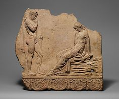 Terracotta plaque, 27 B.C. - A.D. 68, Roman (Augustan or Julio-Claudian era).  Relief with youth and young girl.  Metropolitan Museum of Art, New York