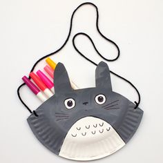 Totoro Paper Plate Purse- Fun Kids craft for kids who love anime