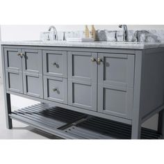 Photos Of Virtu USA Winterfell in W x in D Vanity in Grey with Marble Vanity Top in White with White Basin and Mirror