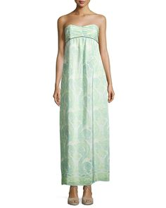 Sail to Sable Strapless Pleated Maxi Dress, Paisley Print