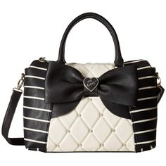 Betsey Johnson Studded Bow Bag Quilted Striped E/W Winged Satchel Crossbody Chanel Handbags, Satchel Handbags, Purses And Handbags, Chanel Tote, Satchel Bag, Designer Handbags, Betsy Johnson Purses, Betsey Johnson Handbags, Bow Bag