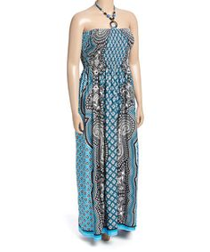 Look what I found on #zulily! Blue Abstract Beaded Halter Maxi Dress - Plus #zulilyfinds