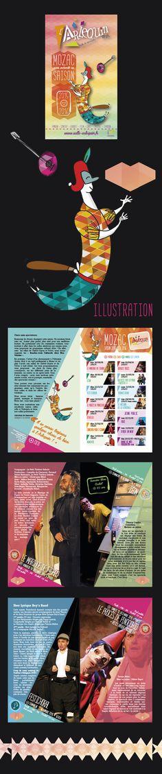 """Saison Culturelle 2015-2016 de la salle de spectacle """"L'Arlequin"""". Création d'un personnage identifiable à la salle, conception graphique en lien à sa tenue, choix des couleurs et des typos renvoyant à la gaieté, la bonne humeur et à la convivialité."""