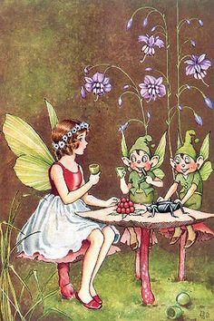 Fairy and elves have tea.