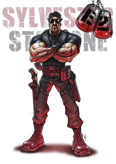 """Sylvester Stallone - The Expendables 2 - Darren """"Daz"""" Tibbles Expendables Tattoo, The Expendables, Comic Movies, Comic Books Art, Book Art, Sylvester Stallone Rambo, Andre Luis, Silvester Stallone, Bad Boys 3"""
