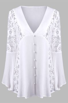 V Neck Lace Insert Flare Sleeve Crinkle Blouse - White - Xl Blouse Styles, Blouse Designs, Lace Insert, Fashion Sewing, Mens Fashion, Sammy Dress, Mode Outfits, Dress Patterns, Plus Size Fashion