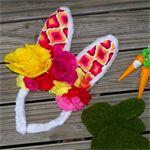 Psychedelic Bunny ears flower crown. Easter geo rabbit ears.