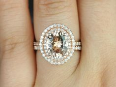 Cara 10x8mm 14kt Rose Gold Oval Morganite and Diamonds Double Halo Wedding Set (Other metals and stone options available).