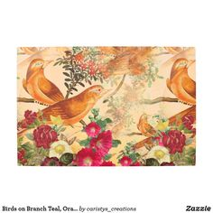 Birds on Branch Teal, Orange, Yellow Metal Art Fall Home Decor, Autumn Home, Bird On Branch, Teal Orange, Personalized Door Mats, French Country Decorating, Garden Flags, Metal Wall Art, Canvas Art