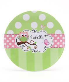 Take a look at this Green & Pink Owl Personalized Plate by Farmhousefive Art for Kids on #zulily today!