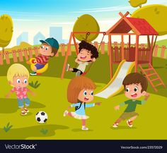 Children Play Football and Swing Outdoor in School Yard Kindergarten. Little Child Game in Nature. Boy and Girl Cartoon Character Activity Concept Illustration , Party Characters, Girl Cartoon Characters, Boy And Girl Cartoon, Character Activities, Children's Book Illustration, Illustration Children, School Cartoon, Cartoon Kids, Park Playground