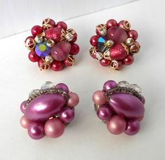 Items similar to TWO Pair Beaded Earrings style AB Rhinestones Lilac Pink Gold on Etsy Vintage Brooches, Vintage Earrings, Beaded Earrings, Vintage Jewelry, Pearl Earrings, Pink And Gold, Rhinestones, Lilac, Pairs