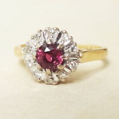 Hey, I found this really awesome Etsy listing at https://www.etsy.com/listing/206613410/vintage-ruby-diamond-and-18k-gold