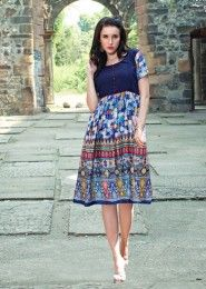Blue Stylish Kurti In Wholesale