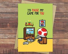 Who would you pause your favourite game for? If you got someone just like in your life, then don't wait for it and tell that special person right away! And why not tell it with a cute greeting card? :) Check out our Etsy store for this and many more geeky anniversary and other love cards!