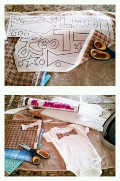 """Home-made iron-on shapes for baby shower's onesie decorating station! Just take fabric scraps + """"Heat N Bond"""" adhesive paper (joann's, walmart). Follow directions on how to fuse the 2 together. Draw shapes or letters on paper side to cut out. After shapes are cut, peel off backing, then iron-on to any fabric! Works great on baby bodysuits and bibs! Perfect for a """"Little Man"""" Party."""