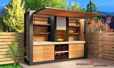 """Check out our site for even more details on """"outdoor kitchen designs layout"""". It is actually an outstanding place to find out more. Modern Outdoor Kitchen, Outdoor Kitchen Bars, Backyard Kitchen, Modern Kitchen Design, Outdoor Dining, Outdoor Decor, Kitchen Designs, 3d Modelle, House"""
