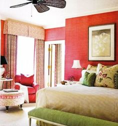 Green Bed Bedroom Bench Red Walls I Cannot Stand This Look Styling But