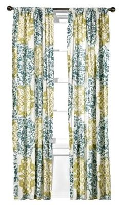Green and blue curtains from Target