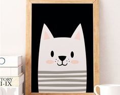 Minimalist mouse Wall Art Mouse with Glasses Mouse Art