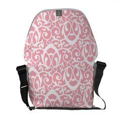 Baroque pattern pink white courier bags http://www.zazzle.com/baroque_pattern_pink_white_courier_bags-210149631435059125?utm_content=buffer741cc&utm_medium=social&utm_source=pinterest.com&utm_campaign=buffer #messengerbag #baroquepattern