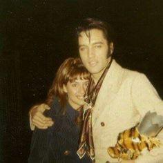 Elvis with longtime fan and friend Sandi Miller.
