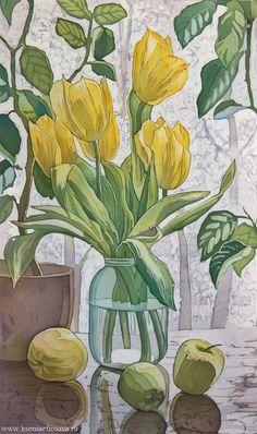 March by Ksenia Efimova. Tulip Painting, Silk Painting, Watercolor Sketch, Watercolor Flowers, Botanical Illustration, Illustration Art, Batik Art, Floral Drawing, Guache