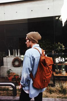Men's fashion. Jean shirt with brown leather backpack and a beanie.. always a winner! Street style