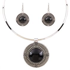 Vintage Modische Schmuck-Sets Für Frauen 2016 Runde Türkis Halsband Halsbänder Halskette Ohrringe Sets Geschenke Großhandel TL9144