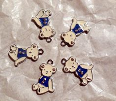 DeStash Bear Charms blue and white Metal by BackyardPatchScenery