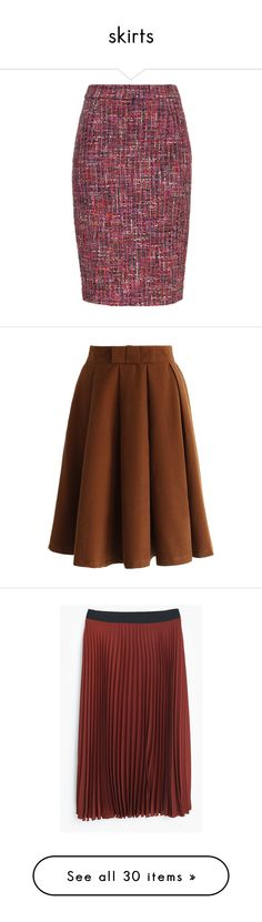 """""""skirts"""" by alexandra-barbu-1 ❤ liked on Polyvore featuring skirts, amethyste, zipper pencil skirt, purple pencil skirt, escada skirts, escada, zipper skirt, brown, calf length skirts and pleated skirt"""