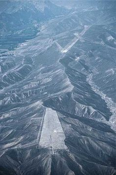The Palpa region in the Nazca mountains. The levelled mountain ridge lies like…