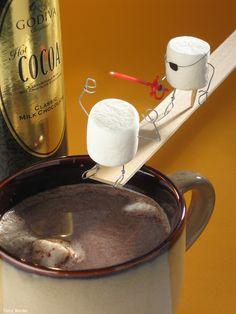 funny scenes w/ twisted humor made from food, household items & bent wire