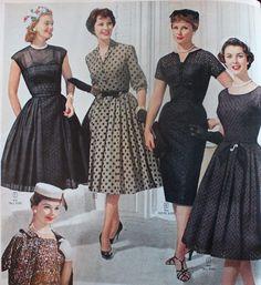 Simple black evening swing dresses, 1960s #LivingInThe1960s