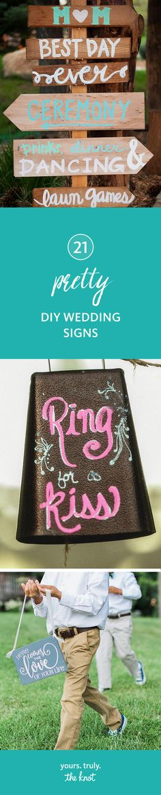 Create handmade DIY wedding signs to invite and direct your guests around your venues.