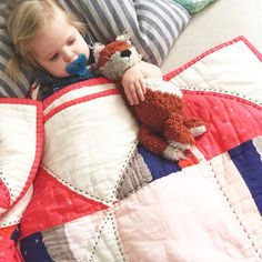 Snuggly double gauze quilt ✔️ fox ✔️ binky ✔️ pigtails & overalls ✔️ our niece is getting so big!