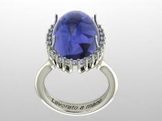 Realizzazione di anello in oro bianco con diamanti e Tanzanite. www.gioiellioro.eu