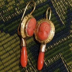Victorian coral cameo drop earrings from Uchizono Gallery.