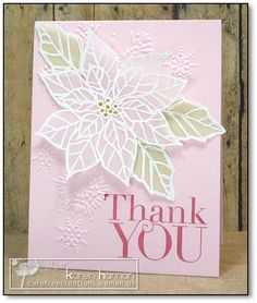 handmade thank you card ... by kthaman  ... prettey velum poinsetia .... white embossed on transluscent  vellum ... cut out  and popped up  ... sweet card with pink base ... Stampin' Up!
