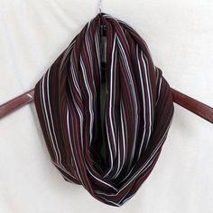 Cranbury Brown and White Striped Infinity Scarf by KtsKollections, $11.00
