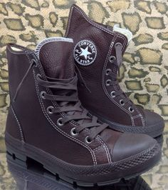 fcb90c958e4 Converse All Star Outsider Mens Leather High Top Boots Sz 8 Brown VTG Army  41.5
