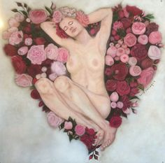 """Queen of Flowers """"Heart of Roses"""", oil on panel, 100 x 100 cm, by Sara Calcagno, italian painter"""